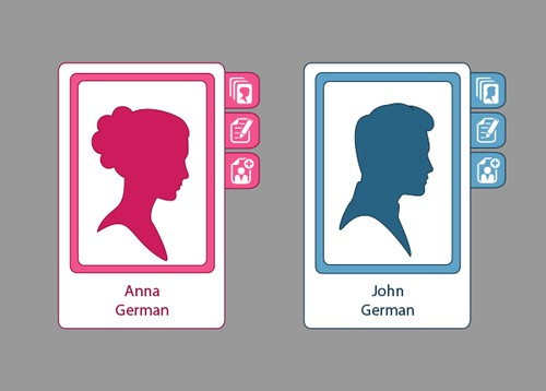 Profile design with the title 'Avatars for genealogical tree website'