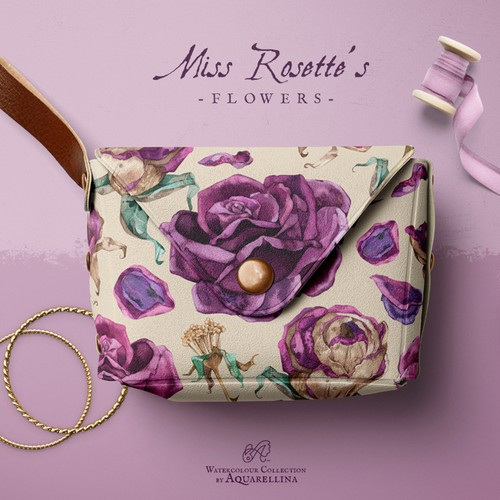Hand-painted design with the title 'Watercolor Flower Pattern'