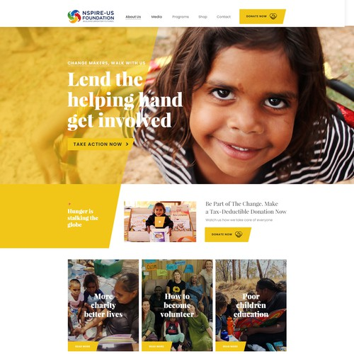NGO design with the title 'Charity Website'