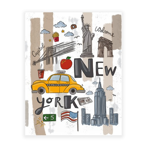 Poster artwork with the title 'New York Illustration'