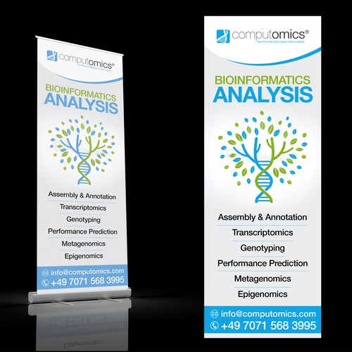 Stand design with the title 'BIOINFORMATICS ANALYSIS Roll-up Stand'