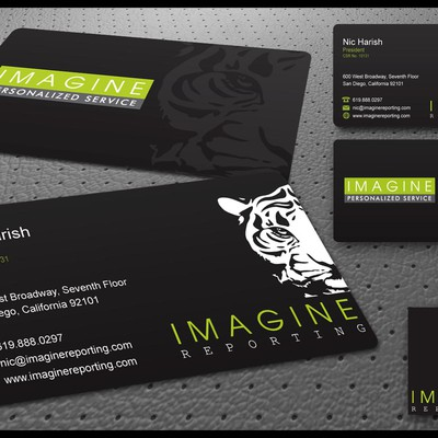 Business card concept for Imagine Reporting.