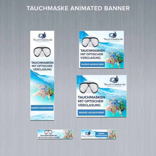 HTML5 design with the title 'Animated Banner Ads for online shop for dive-snorkelmasks'