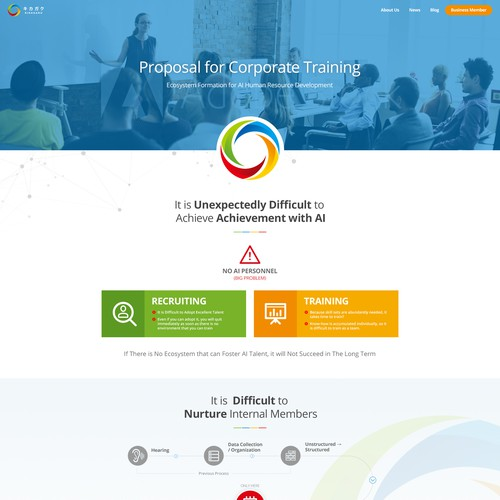Training website with the title 'Website design for japanese corporate training company.'