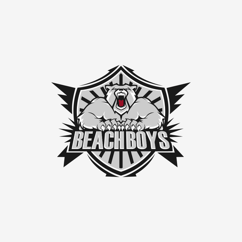 Bear mascot logo with the title 'Character logo concept for BeachBoy'