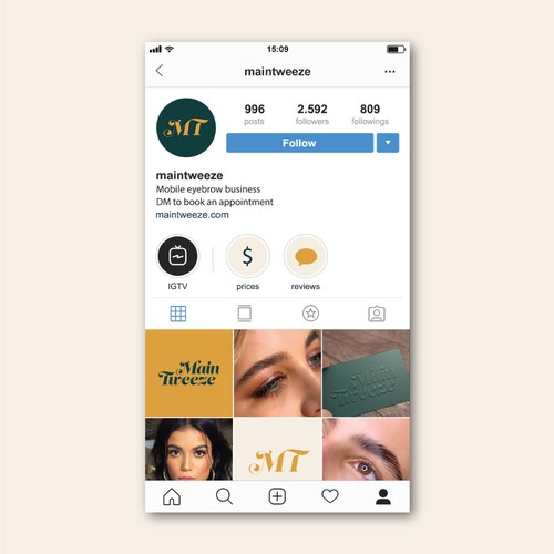 Microblading logo with the title 'Social Media Visual for Mobile Eyebrow Business'