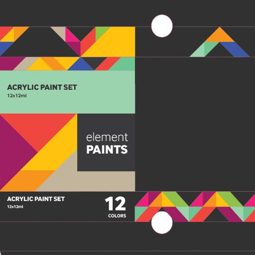 Black packaging with the title 'Packaging for Acrylic Paint Set'