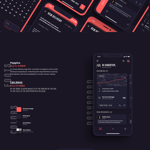 Interactive design with the title 'Home Delivery App'