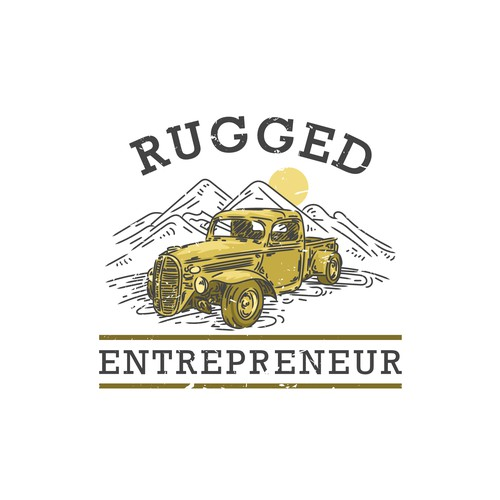 Vintage car logo with the title 'Logo concept for Rugged Entrepreneur'