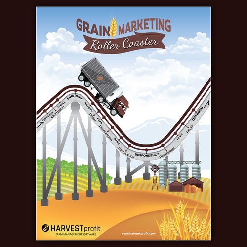 Truck illustration with the title 'Poster Concept for Grain Marketing Roller Coaster'