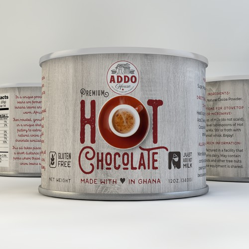 Rustic label with the title 'Hot Chocolate Concept'