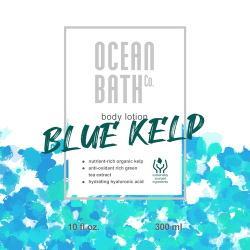 Ocean wave design with the title 'Ocean-themed body lotion label'