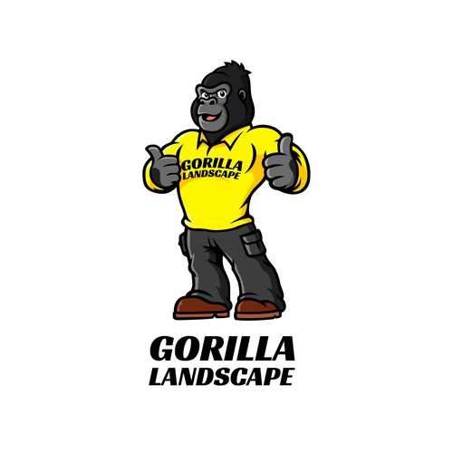 Lawn care logo with the title 'Put a Gorilla in a lawn care uniform.'