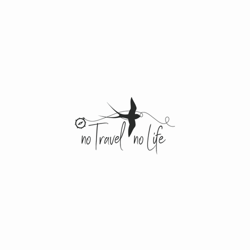Swallow logo with the title 'No Travel No Life | logo concept'