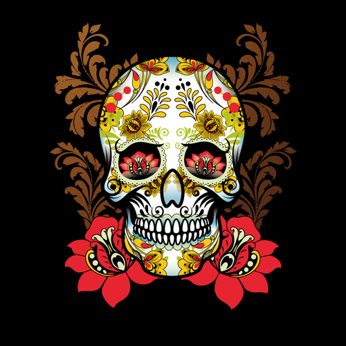 Sugar skull design with the title 'T-shirt design'
