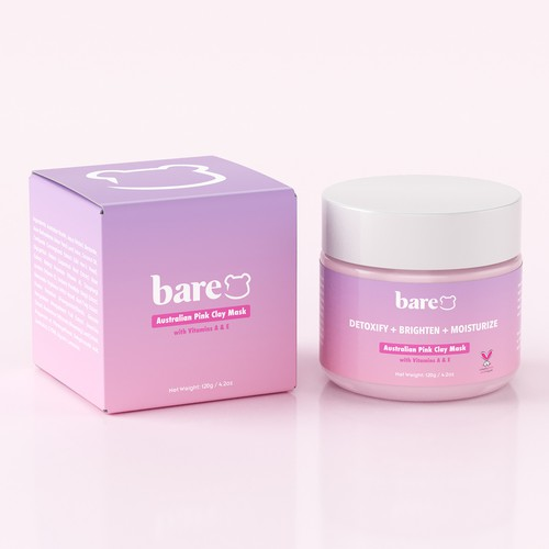 Mockup packaging with the title 'Packaging design for an Australian pink clay mask'