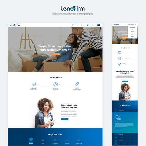 White website with the title 'Responsive design + development for LendFirm'