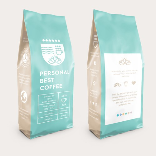 Unique packaging with the title 'Personal Best Coffee - Bag Design'