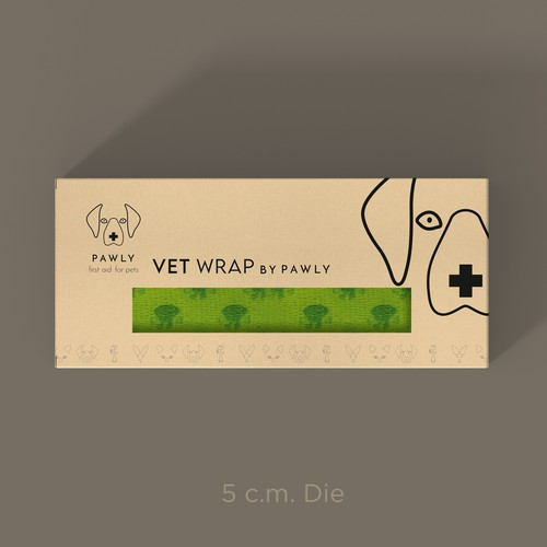 Animal packaging with the title 'Innovative Pawly Vetinary Wraps Design'