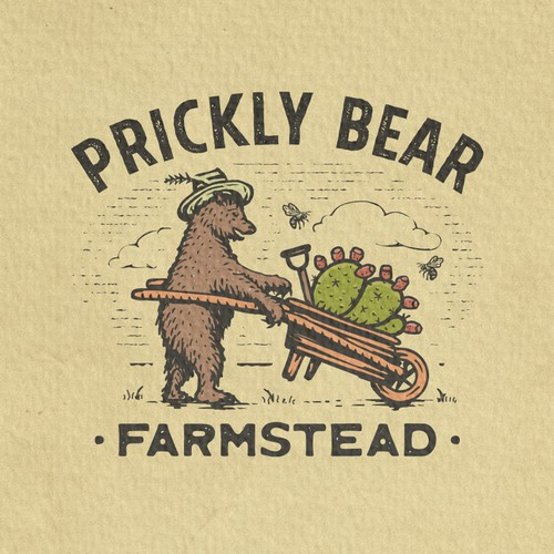 Logo with the title 'Prickly Bear Farmstead'