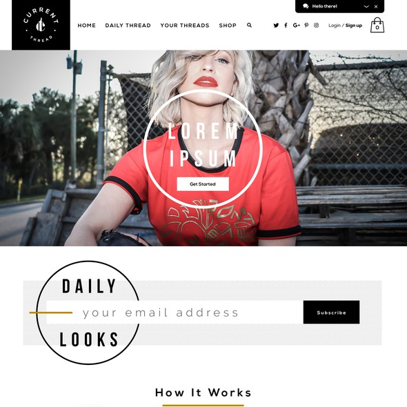 Clothing website with the title 'Current Thread'