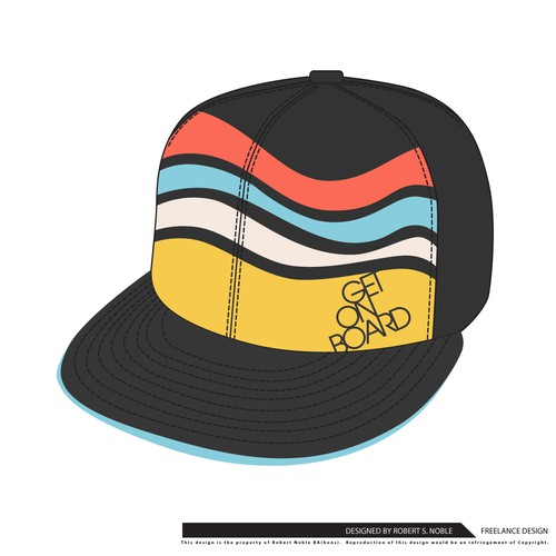 Snapback design with the title 'Get on Board baseball cap'