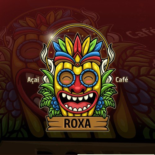 Mask logo with the title 'Mask character design for Roxa cafe'