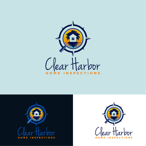 Magnifying glass logo with the title 'Logo with nautical touch for Clear Harbor Home Inspections'
