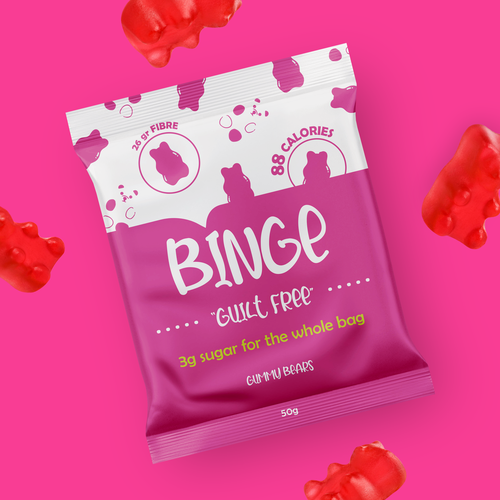 Candy packaging with the title 'Binge, Keto Gummy Bears!'