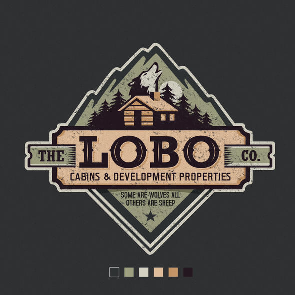Cabin design with the title 'Vintage logo for a company that builds a small custom made off-grid cabins'