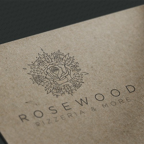 Pizza design with the title 'Rosewood'