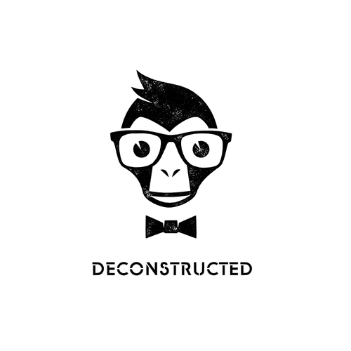 Bow tie design with the title 'Help DECONSTRUCTED design a logo'