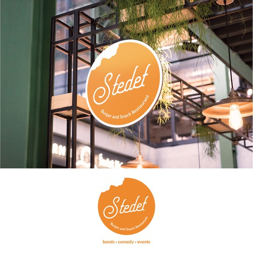 Burger brand with the title 'Concept logo for Stedet Burger and Snack Restaurant'
