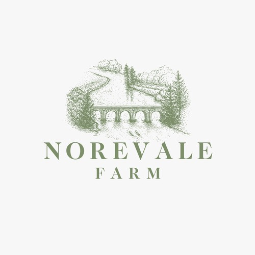 Riverside design with the title 'Norevale Farm'