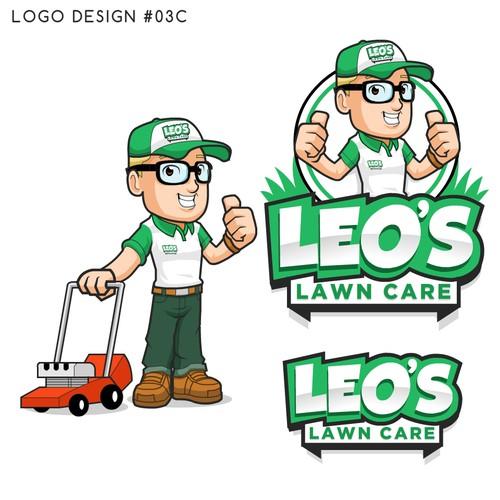 Lawn design with the title 'Fun Mascot logo for Leo's Lawn Care'