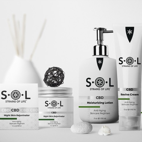 Lotion design with the title 'S.O.L Packaging and Label design'