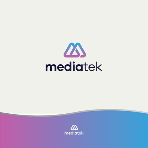 Red and purple design with the title 'The iconic logo for a multi media marketing company'