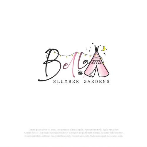 Teepee logo with the title 'Bella Slumber Gardens Logo'