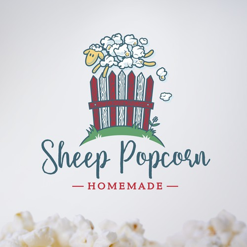 Fluffy logo with the title 'Innovative design for sheep popcorn logo (popped maize-fur)'