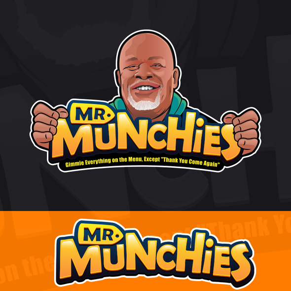 Caricature logo with the title 'Help me Design MR Munchie!!! Need a logo BAD'
