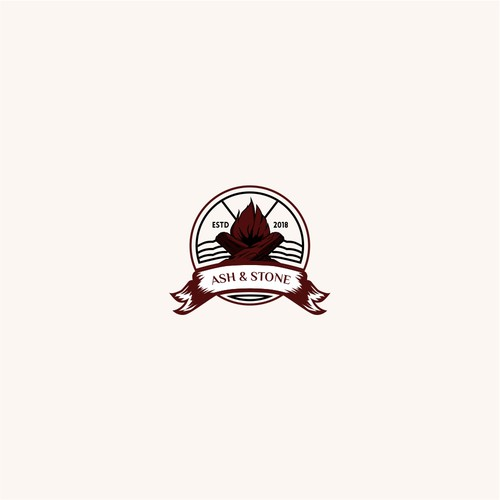 Brave logo with the title 'Vintage looking logo for ASH & STONE company'