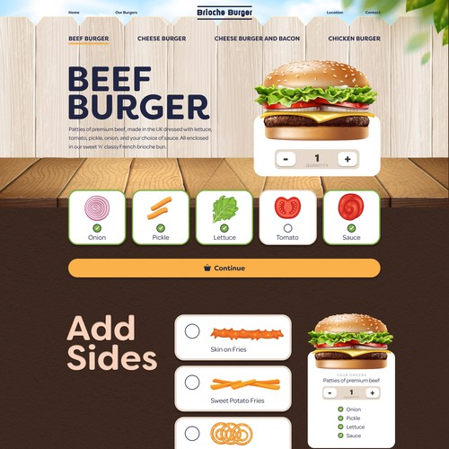 Restaurant website with the title 'Food Restaurant Burger website homepage'