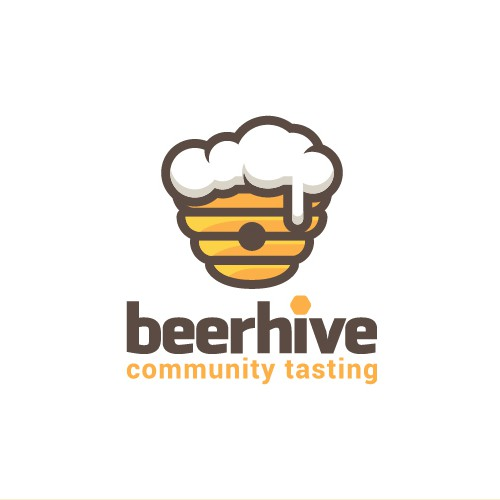 Beehive logo with the title 'Logo concept for a beer tasting community'