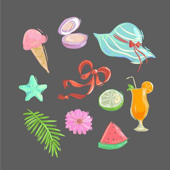 Bright colors artwork with the title 'Bright Summer Stickers for Stylish Photo Editing App'