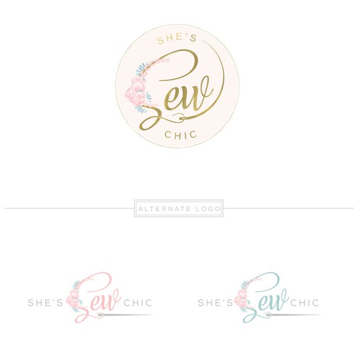 Girly logo with the title 'Logo Design for Homemade sewing products'