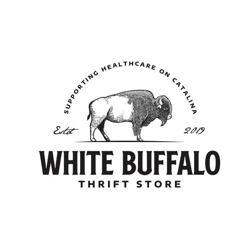 Buffalo design with the title 'White Buffalo Thrift Store'