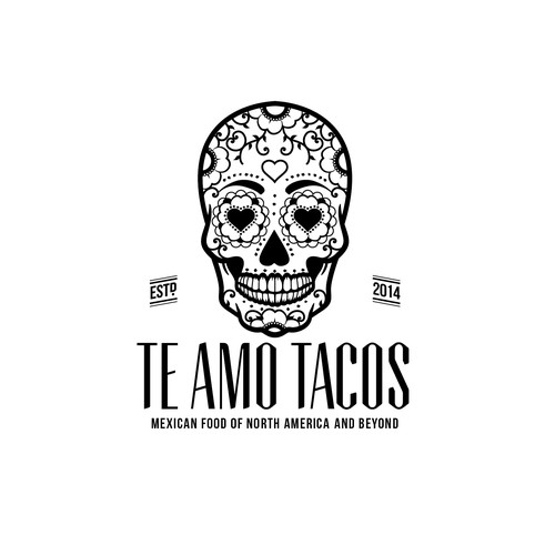 Mexican restaurant logo with the title 'Create a Mexican food blog logo with skull '