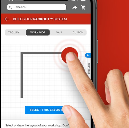 Storage design with the title 'Tools.com - Configurator screens for the app that sells tools'