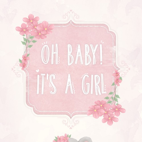 Shabby chic design with the title 'Baby shower seed packet for girl'