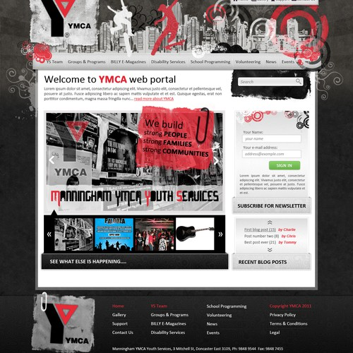 Community website with the title 'A local YMCA Youth Services needs a new WP design!'